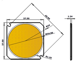 Outline Drawing of COB LEDs chips on board LCOB50-10W 20W 30W 40W 50W